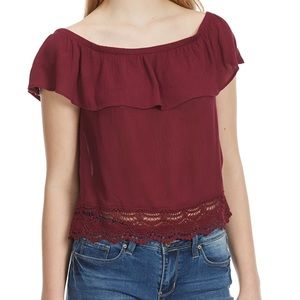 NWT Ambiance Ruffle Off the Shoulder Top Small